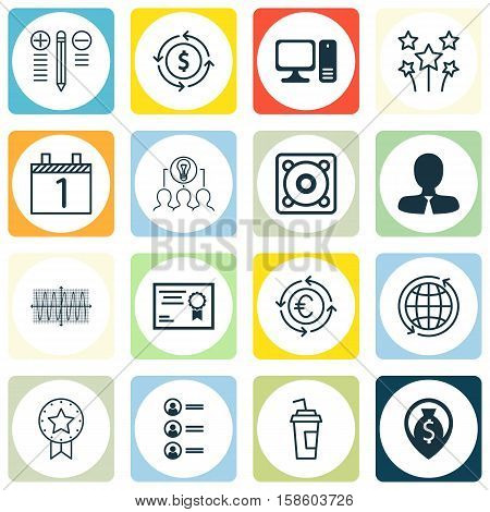 Set Of 16 Universal Editable Icons. Can Be Used For Web, Mobile And App Design. Includes Icons Such As World, Sinus Graph, Decision Making And More.