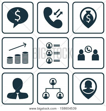 Set Of Human Resources Icons On Pin Employee, Cellular Data And Phone Conference Topics. Editable Vector Illustration. Includes Male, Applicants, Map And More Vector Icons.