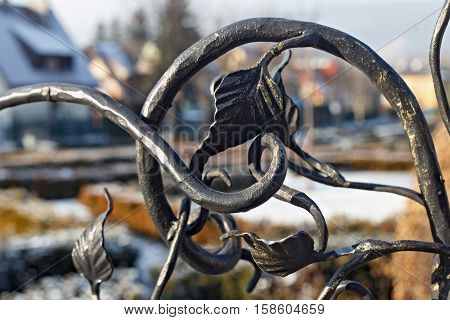 Elements of decorative floral ornament in a metal wrought fence.