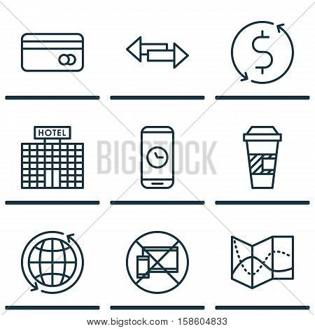 Set Of Traveling Icons On Hotel Construction, Crossroad And World Topics. Editable Vector Illustration. Includes Globe, Debit, Direction And More Vector Icons.