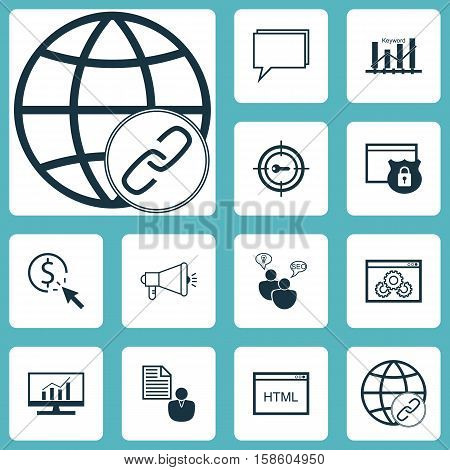 Set Of Advertising Icons On Report, Market Research And SEO Brainstorm Topics. Editable Vector Illustration. Includes Conference, SEO, Website And More Vector Icons.