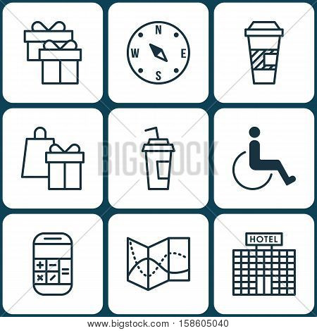 Set Of Traveling Icons On Locate, Accessibility And Hotel Construction Topics. Editable Vector Illustration. Includes Road, Coffee, Shopping And More Vector Icons.