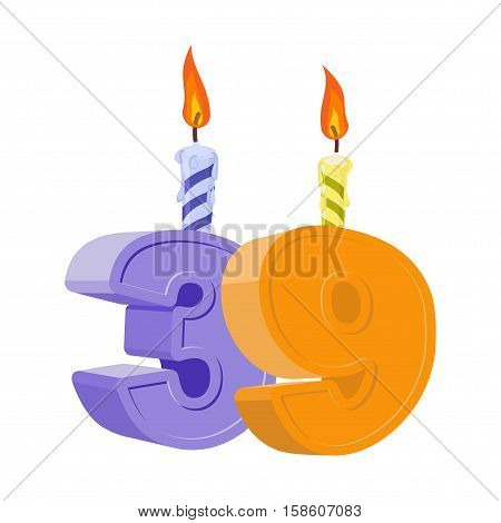 39 Years Birthday. Number With Festive Candle For Holiday Cake. Thirty Nine Anniversary