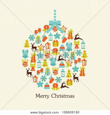 Stock vector illustration of christmas ball collection