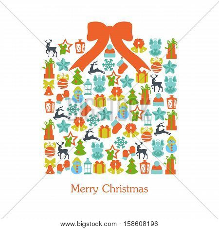 Stock vector illustration of christmas giftbox collection