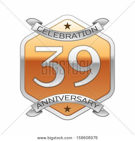 Thirty nine years anniversary celebration silver logo with silver ribbon and golden hexagonal ornament on white background.