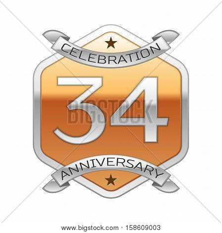 Thirty four years anniversary celebration silver logo with silver ribbon and golden hexagonal ornament on white background.