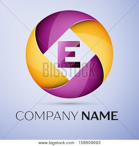 Letter E vector logo symbol in the colorful circle. Vector template for your design