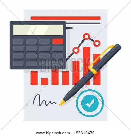 Concept of financial statement with document, calculator and pencil