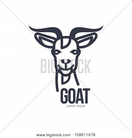 Front view goat head logo template for meat and dairy products, cartoon vector illustration on white background. Goat head outline for dairy, meat, farm products logo design