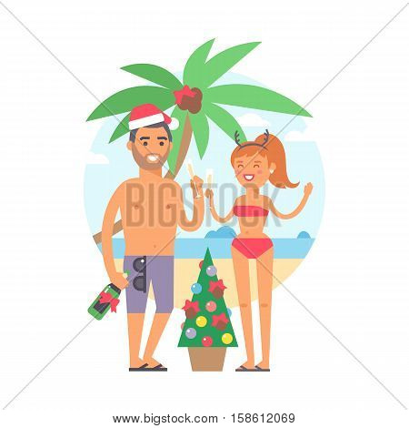 Summer people vacation traveling. Vacation people couple happy family travel together. Christmas tropical resting family couple people on vacation together character vector illustration.