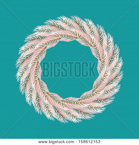 Christmas Wreath White Isolated. Fir Branch Circlet. Decoration For New Year