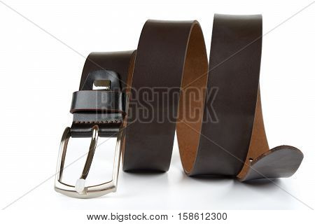 Leather belt for men isolated on white background.