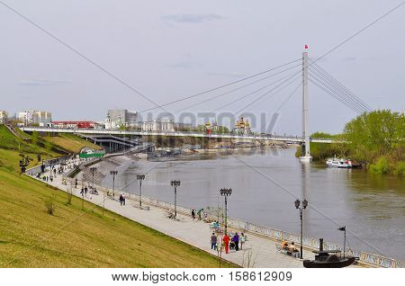 The bridge for pedestrians over the Tura River in Tyumen Russia