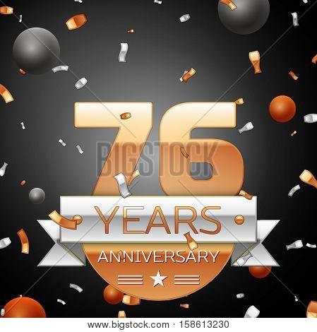 Seventy six years anniversary celebration background with silver ribbon confetti and circles. Anniversary ribbon. Vector illustration.