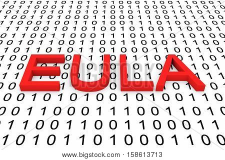 EULA in the form of binary code, 3D illustration