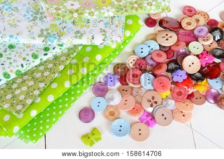 Pieces of cloth, buttons - a sewing set
