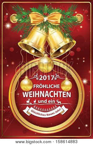 Elegant German corporate greeting card for winter holiday 2017. We wish you Merry Christmas and Happy New Year - German language language:  Frohe Weihnachten und ein Gluckliches Neues Jahr!