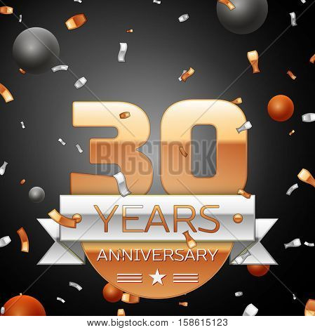 Thirty years anniversary celebration background with silver ribbon confetti and circles. Anniversary ribbon. Vector illustration.