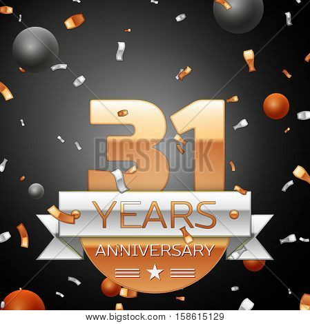 Thirty one years anniversary celebration background with silver ribbon confetti and circles. Anniversary ribbon. Vector illustration.