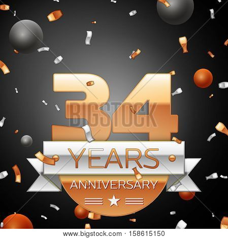 Thirty four years anniversary celebration background with silver ribbon confetti and circles. Anniversary ribbon. Vector illustration.