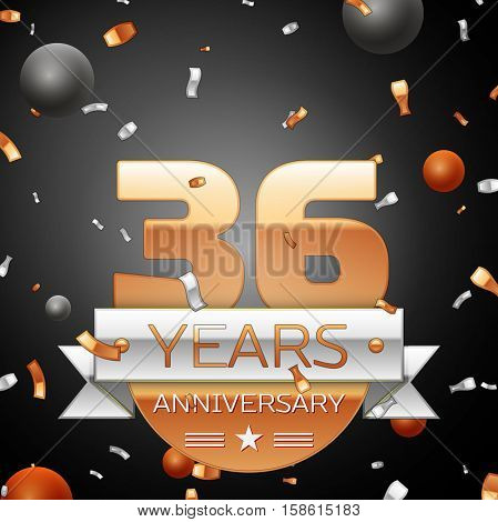 Thirty six years anniversary celebration background with silver ribbon confetti and circles. Anniversary ribbon. Vector illustration.