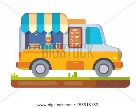 Store fast food van. Lunch sandwich, menu and snack, hot dinner, market and beverage in fridge, street shop, flat vector illustration
