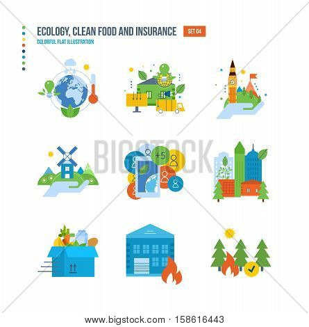 Nature conservation and environmental protection, healthy food, environment protection service, preservation of natural resources icons set over white background. Colorful flat illustrations.