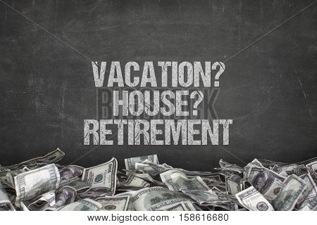 Vacation  text text on black background with dollar pile