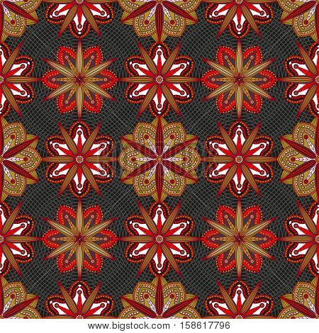 Seamless pattern of exotic flowers in red, purple, muted green & white on black background.