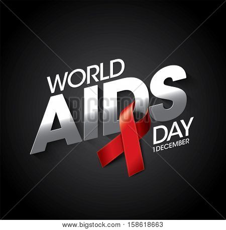 Aids Awareness Red Ribbon. World Aids Day concept. Vector Illustration