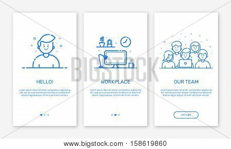 Vector Illustration of onboarding app screens and web concept design team for mobile apps in flat line style. Modern blue interface UX, UI GUI screen template for smart phone or web site banners.