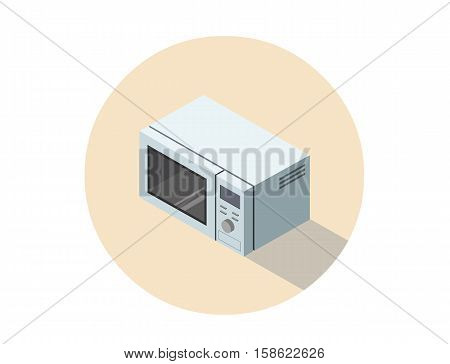 Vector isometric illustration of microwave oven, 3d flat design object, kitchen equipment, home constructor element.