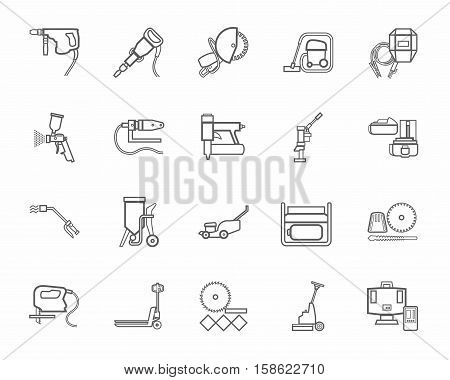 Construction tools, consumables, icons, contour, monochrome.  Vector, contour gray drawings of equipment for construction and renovation on a white background.