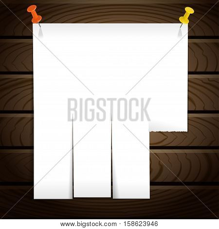 White note post pattern with pins on wooden wall. Advert on wooden texture background. Vector illustration.