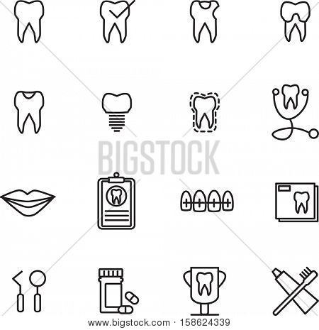 Various dental vector icons on white background