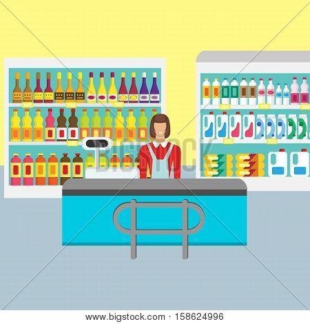 Supermarket cashier. Supermarket store counter desk equipment . Cash table, store shelves, fridge. Cashier in supermarket interior design.