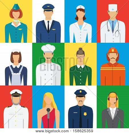 Set of colorful profession people flat style icons vector illustration. Different people professions characters set