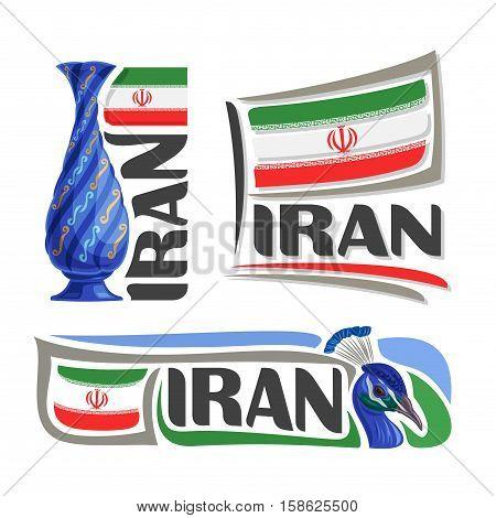 Vector logo Iran, 3 isolated images: vertical banner persian enamel mina blue handicraft vase on background iranian national state flag, symbol iran emblem, irani ensign flags, peacock, peafowl bird.