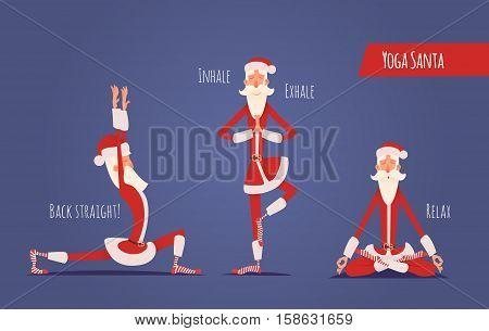 Santa Claus Doing Yoga. Vector Xmas Illustration. 3 Yoga Poses.