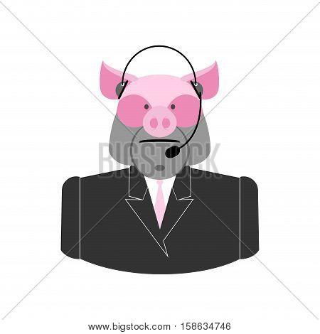 Farm Call Center. Pig With  Headset. Swine Operator Feedback Farm Clients. Customer Service