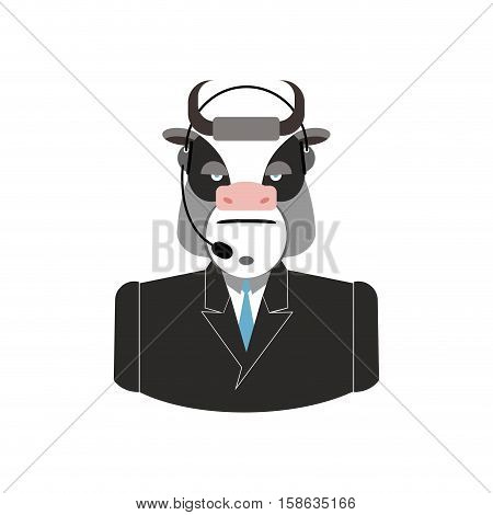 Farm Call Center. Cow With Headset. Bull Feedback Operator With Farm Clients. Customer Service