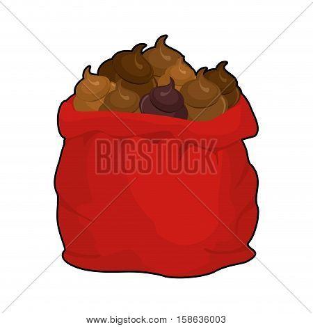 Santa Shit Bag. Full Sack Turd. Big Red Christmas Sackful Poop. Bad Gift For Nasty People