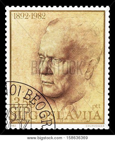 YUGOSLAVIA - CIRCA 1982 : Cancelled postage stamp printed by Yugoslavia, that shows president Tito.