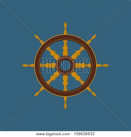 Ships Wheel, Flat Design, Ship Equipment ,Vector Illustration