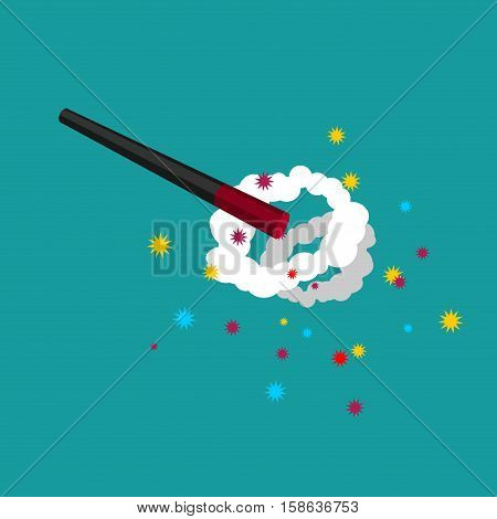 Magic Wand And Magical Explosion. White Cloudy With Stars. Magic Trick Isolated