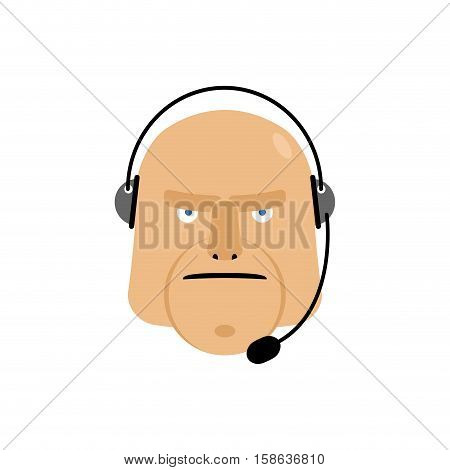 Call Center Icon. Manager Customer Service Head With Headset Isolated