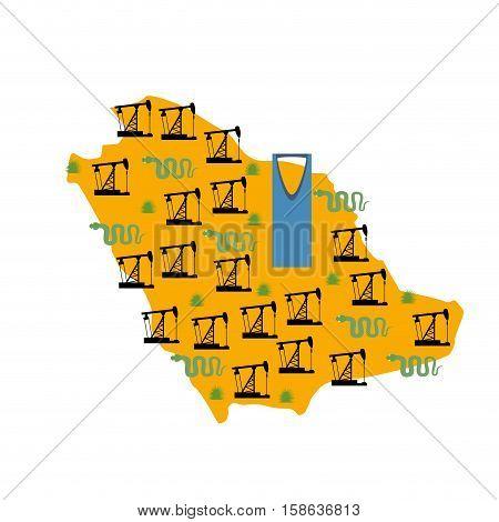 Saudi Arabia Map. Camels And Oil Pump