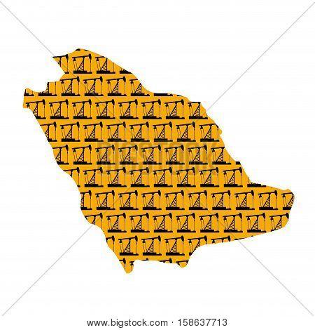 Saudi Arabia Map Isolated. Oil Pump Texture
