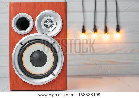 Speakers. Musical columns with wooden body. loudspeaker